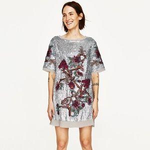 Zara Silver Sequin Embroidered Dress
